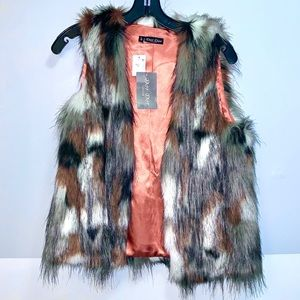 Dor Dor Multi Colored Faux Fur Vest S